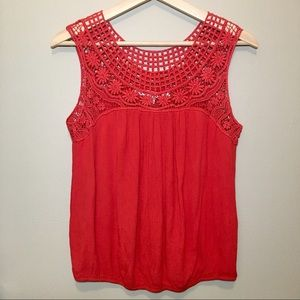 MAX STUDIO knit lace red sleeveless blouse